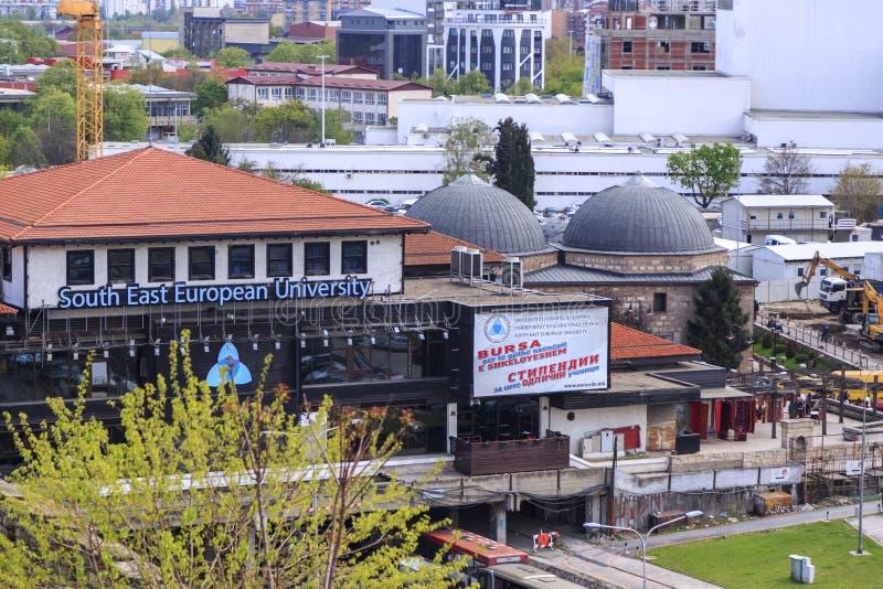 Opinião da arquitetura da cidade de Skopje da fortaleza da couve imagens de stock
