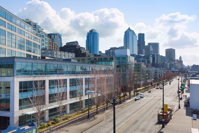 Opinião da arquitetura da cidade da parte superior de Seattle do centro fotos de stock royalty free