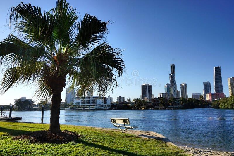 Opinião da baía em Gold Coast fotos de stock