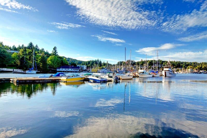 Opinião da baía em Tacoma, Washington imagem de stock