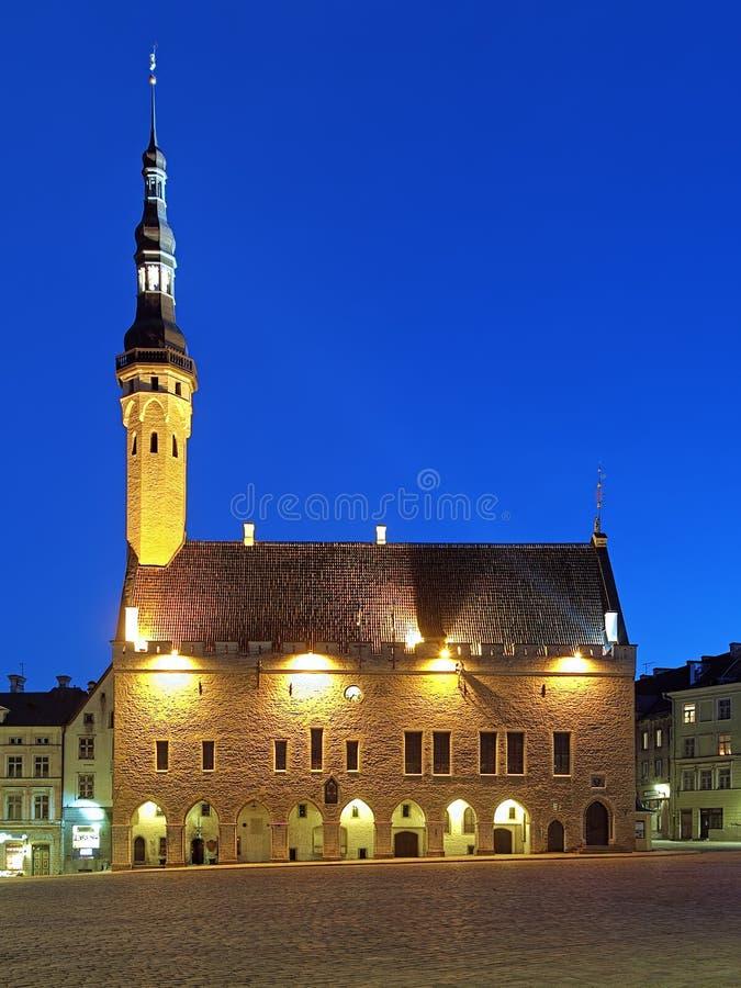 Opinião da câmara municipal de Tallinn, Estônia da noite fotos de stock royalty free