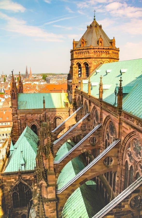 Opinião da catedral de Strasbourg imagem de stock royalty free