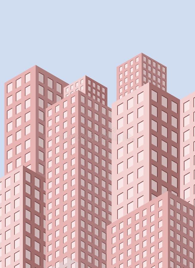 Opinião da cidade com arranha-céus ilustração do vetor