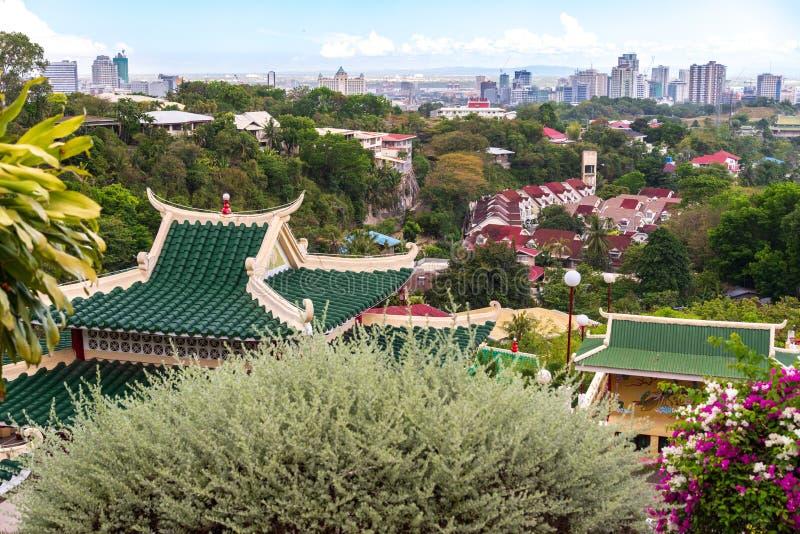 Opinião da cidade de Cebu do templo da taoista na cidade de cebu foto de stock royalty free