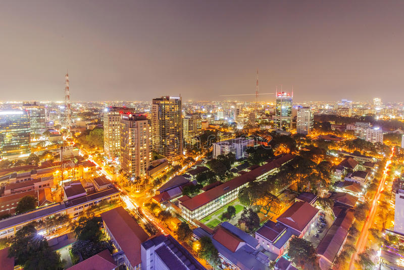 Opinião da cidade de Ho Chi Minh da parte superior da construção imagens de stock
