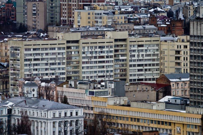 Opinião da cidade de Kiev, panorama Kiev, Ucrânia fotografia de stock