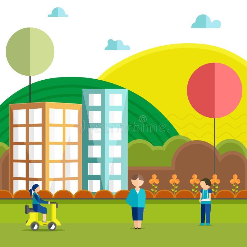 Opinião da cidade para a saúde e o conceito médico ilustração do vetor