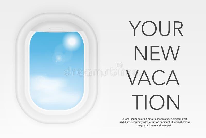 Opinião da janela do avião Janela realística do voo Conceito da ilustração do vetor da viagem do curso ilustração stock