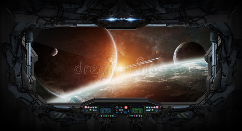 Opinião da janela do espaço e dos planetas de uma estação espacial ilustração royalty free