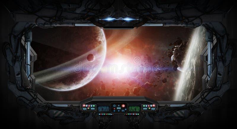 Opinião da janela do espaço e dos planetas de uma estação espacial ilustração do vetor