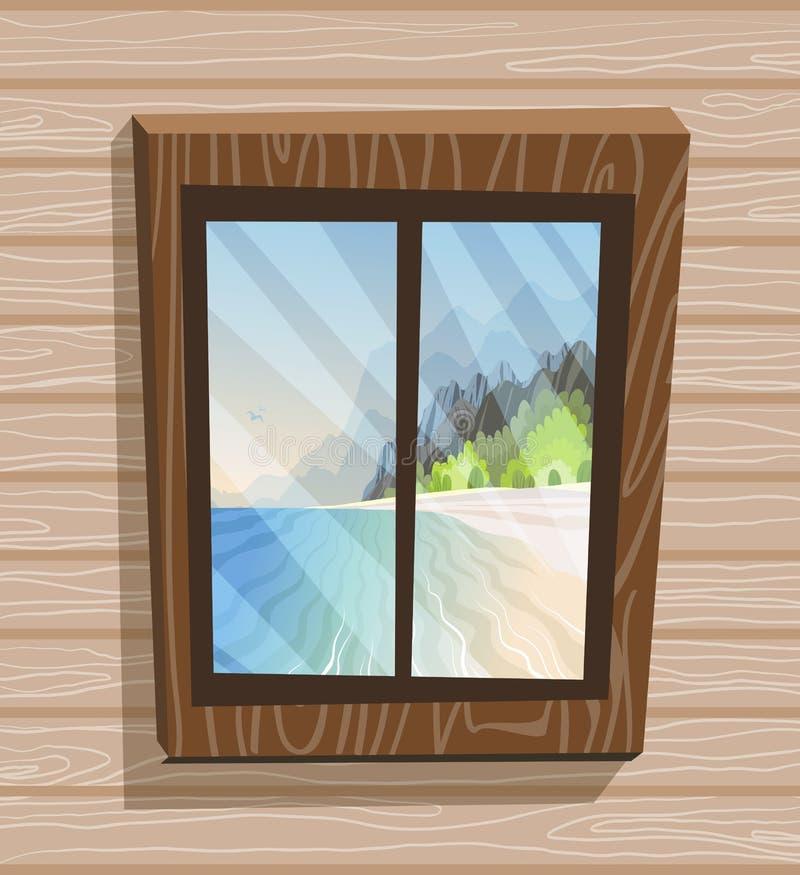 Opinião da janela dos desenhos animados Dia ensolarado na ilha do paraíso, vista do bungalow Praia, mar, sol ilustração royalty free