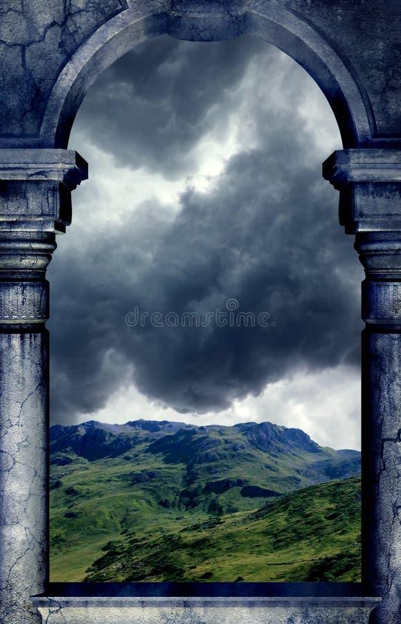 Opinião da janela da montanha ilustração royalty free
