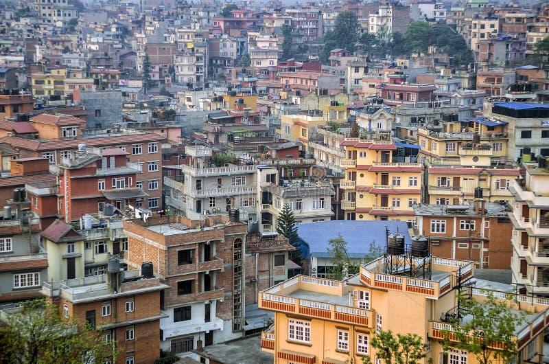 Opinião da janela, Nepal da cidade de Kathmandu fotografia de stock