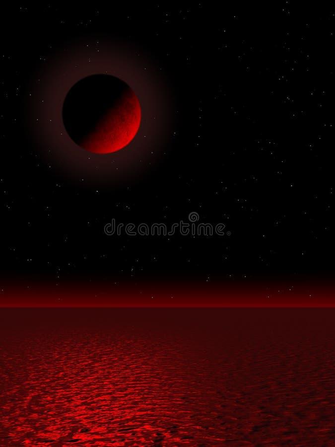 Opinião da lua no vermelho ilustração stock