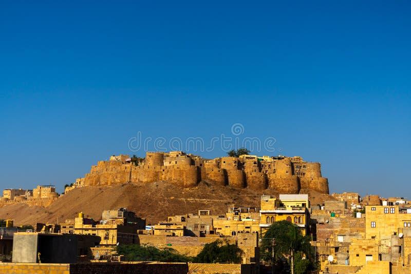 Opinião da manhã do forte de Jaisalmer, a cidade dourada, Rajastan, Índia fotos de stock royalty free