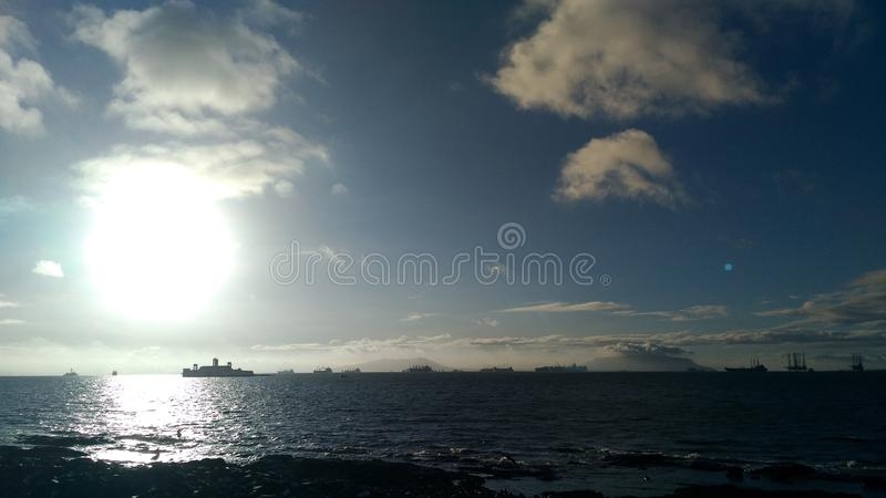 Opinião da manhã do mar indiano na área costal de mumbai imagens de stock