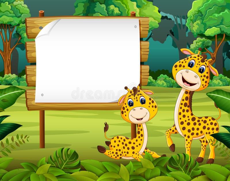 A opinião da natureza com o espaço vazio de placa de madeira e o girafa bonito do bebê ilustração royalty free
