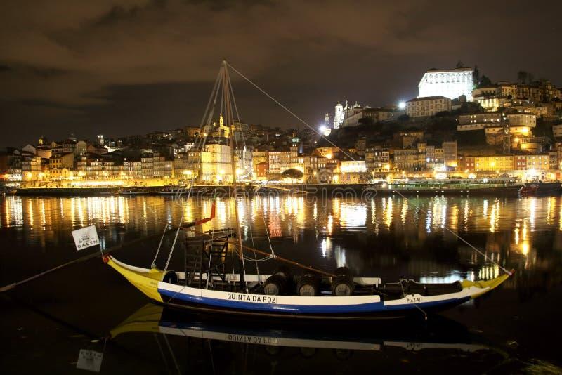 Opinião da noite através do rio Douro para Porto de Vila Nova de Gaia fotografia de stock