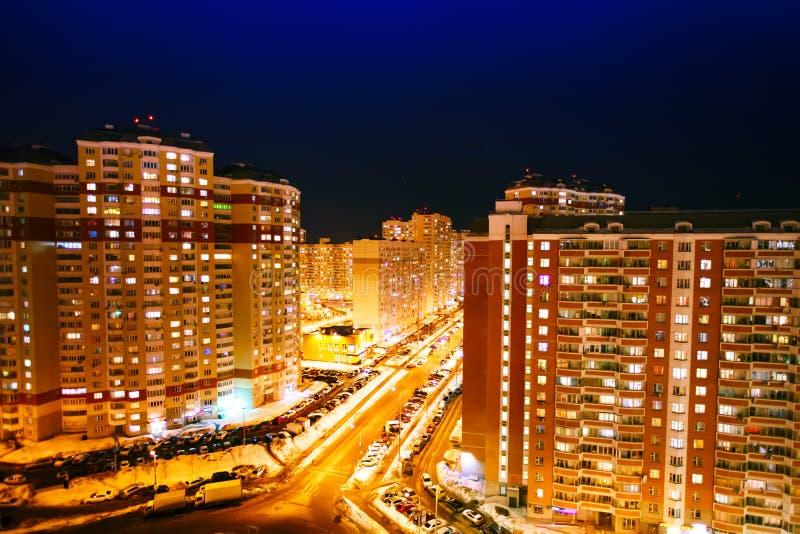 Opinião da noite da cidade Área residencial moscow fotografia de stock