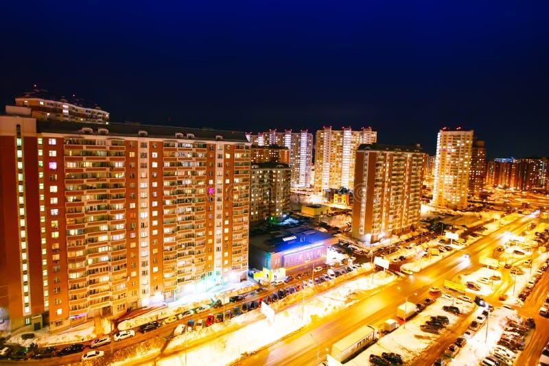 Opinião da noite da cidade Área residencial moscow fotos de stock royalty free