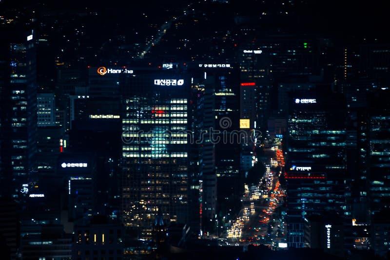 Opinião da noite da cidade como vista da torre Seoul Coreia do Sul Ásia de Namsan imagem de stock royalty free