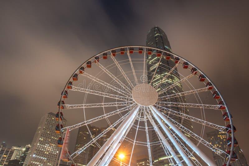 Opinião da noite da cidade de Hong Kong fotografia de stock royalty free