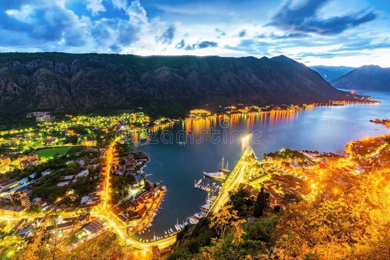 Opinião da noite da baía de Kotor imagens de stock royalty free