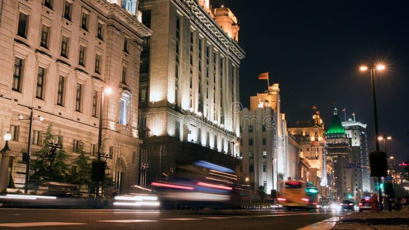 Opinião da noite da barreira de Shanghai fotografia de stock royalty free