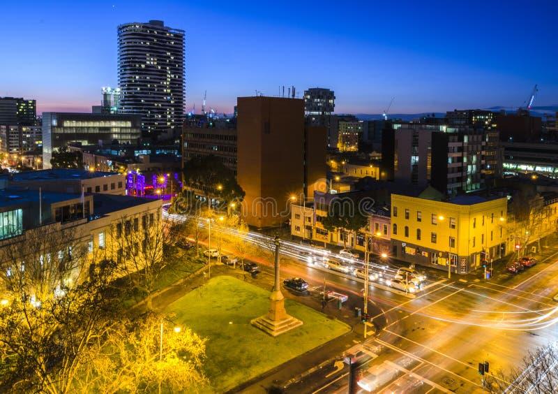 Opinião da noite da cidade de Melbourne austrália fotografia de stock royalty free