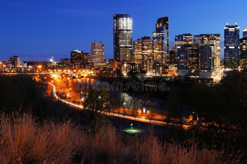 Opinião da noite de Calgary fotos de stock