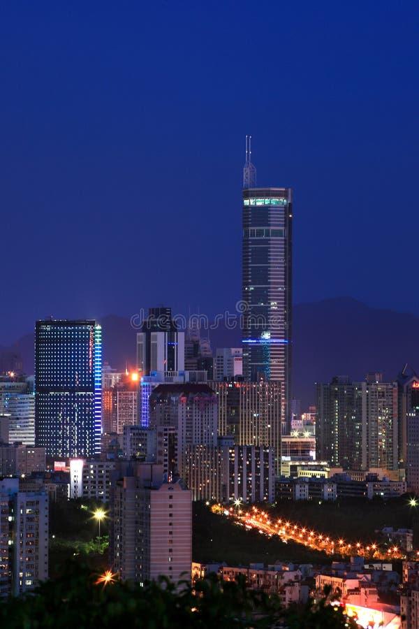 Opinião da noite de CBD, Shenzhen fotografia de stock