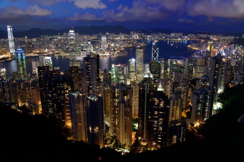 Opinião da noite de Hong Kong imagem de stock royalty free