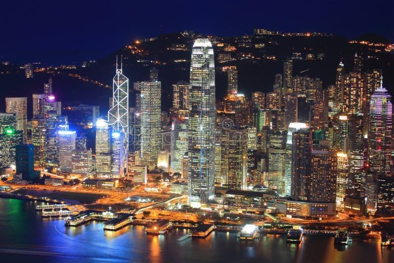 Opinião da noite de Hong Kong imagem de stock