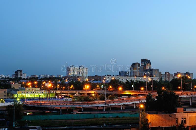 Opinião da noite de Kuntsevo - distrito em Moscou, situada na parte ocidental da cidade Moscovo, Rússia fotos de stock royalty free