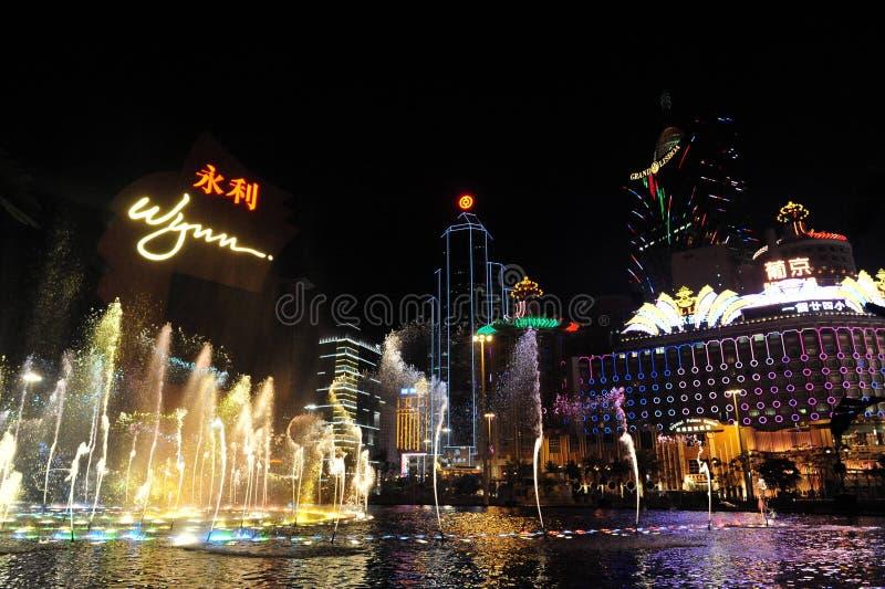 Opinião da noite de Macau foto de stock