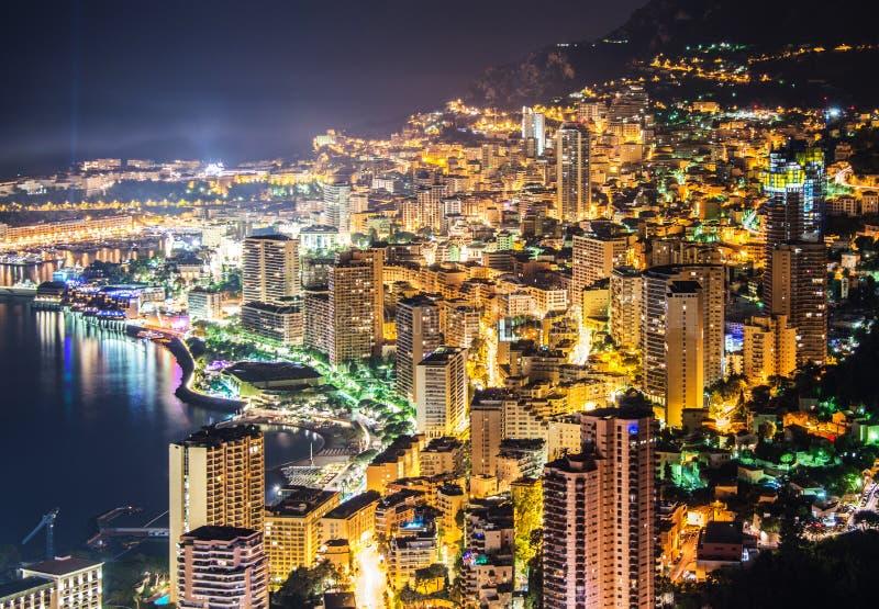 Opinião da noite de Monaco fotografia de stock