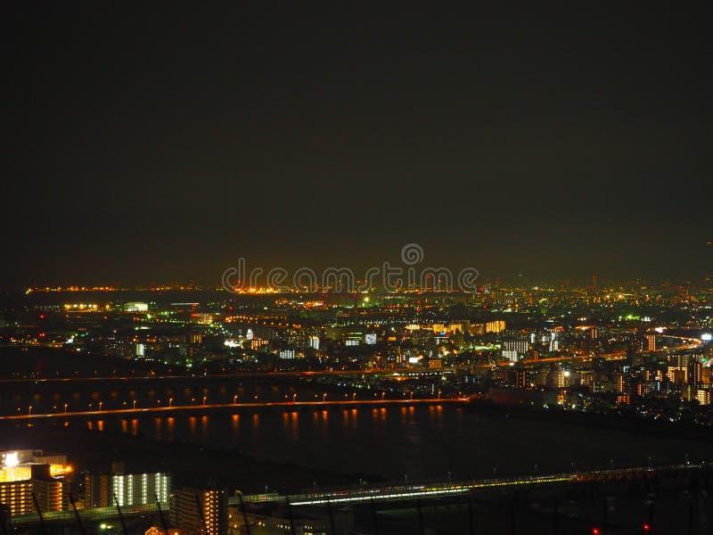 Opinião da noite de Osaka imagem de stock royalty free