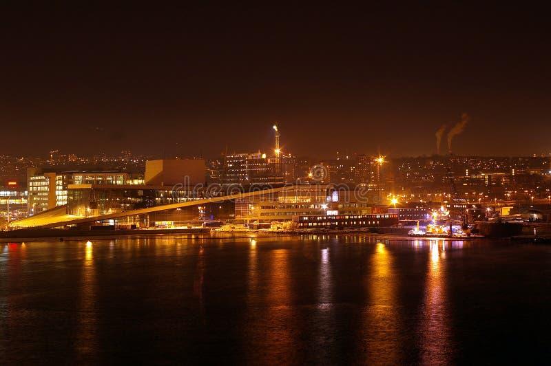 Opinião da noite de Oslo imagem de stock