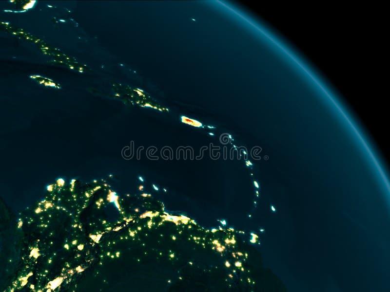 Opinião da noite de Porto Rico na terra ilustração royalty free