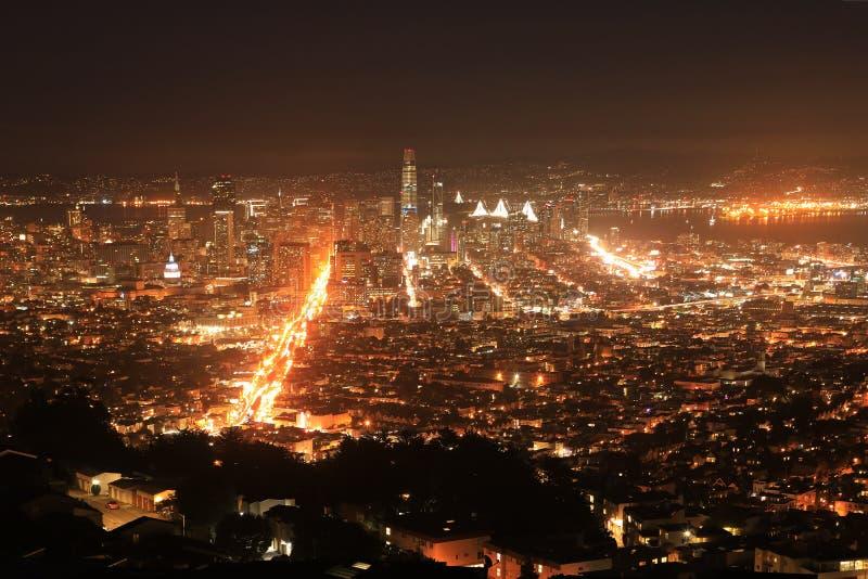 Opinião da noite de San Francisco fotos de stock