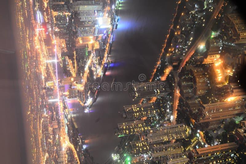 Opinião da noite de Shanghai foto de stock royalty free