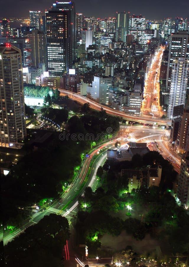 Opinião da noite de Tokyo imagens de stock royalty free