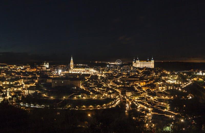 Opinião da noite de Toledo fotografia de stock royalty free