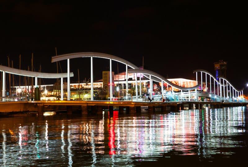 Opinião da noite de Vell do porto de Barcelona fotografia de stock royalty free