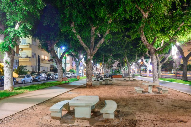 Opinião da noite do bulevar Rothschild em Tel Aviv, Israel imagens de stock