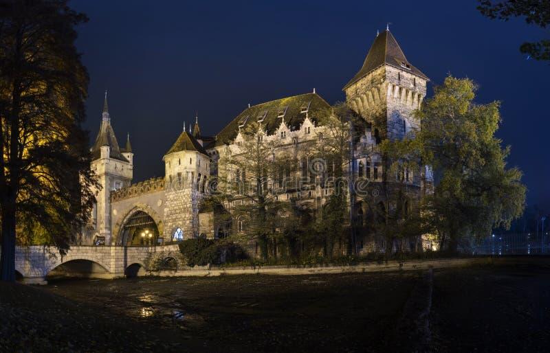 Opinião da noite do castelo de Vajdahunyad em Budapest, Hungria imagens de stock royalty free