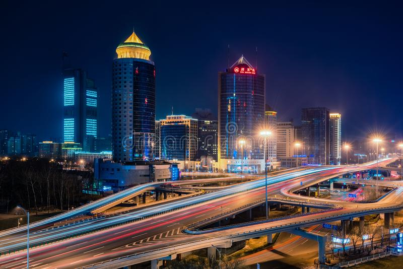 Opinião da noite do Pequim CBD foto de stock
