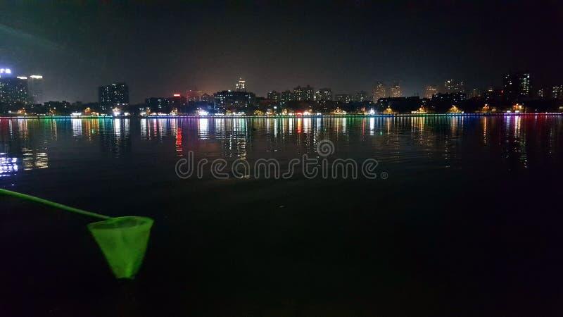 Opinião da noite do rio de Dongjiang fotografia de stock royalty free