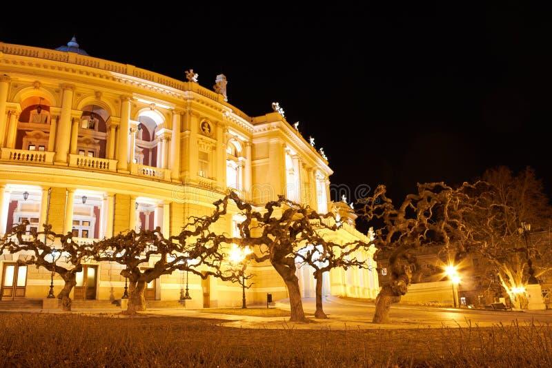 Opinião da noite do teatro da ópera. Odessa foto de stock royalty free