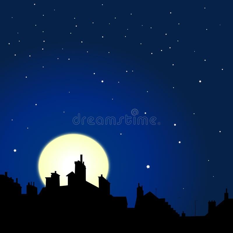Opinião da noite dos telhados ilustração royalty free